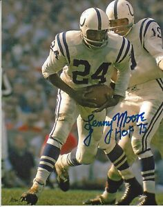 Lenny Moore Autographed 8x10 Baltimore Colts HOF Free Shipping #1