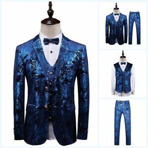 Men's 3PCS Suit Slim Fit Blazer Jacket Printed Pants Vest Wedding Party Formal L