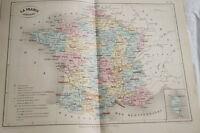 CARTE ANCIENNE COULEURS FRANCE JUDICIAIRE 1865 ATLAS BOUILLET R669