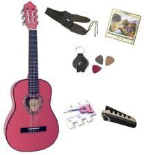 Pack Guitare Classique 1/4 Rose 6 Accessoires Pour Enfant Rosace En Cœur