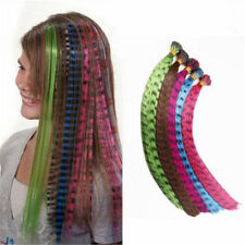 5/10/30pcs Women Colorful Striped Synthetic Feather Hair Extensions 40cm Long