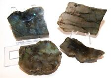 Labradorite Crystals Slice Set - One Side Polished and Raw Pieces - LABSL01