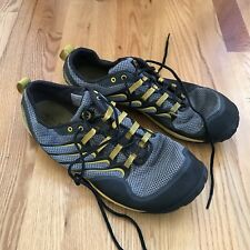 Men's Merrell Barefoot Running Shoes 13 Vibram Soles Black Grey Yellow Lace Up