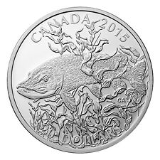 Canada $20 Dollars Silver Proof Coin, 1 oz 2015 North American Sportfish (Pike)