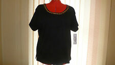 NWT AW Sport by Allyson Whitmore top/tee short sleeve scoop neck in black sz3X