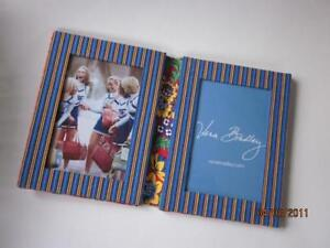 """Vera Bradley """"Villa Red"""" fabric Double Photo Frame holds 4x6 pictures Nice NWOT!"""