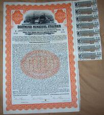 Germany 6.5% Sinking Fund Gold Bond 1928 Dortmund Municipal Utilities $1000 coup