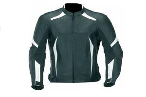 Men's Motorcycle Rider Biker Black Vents Armour Racing Motorbike Leather Jacket