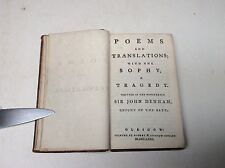 18th Century Book. Poems and Translations with the Sophy a Tragedy. 1771 Poetry