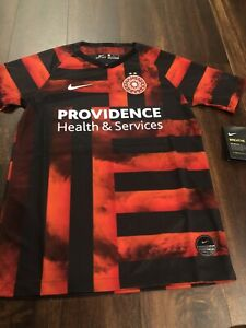 New Nike Youth Portland Thorns Soccer Breathe Jersey Size Medium Black Red