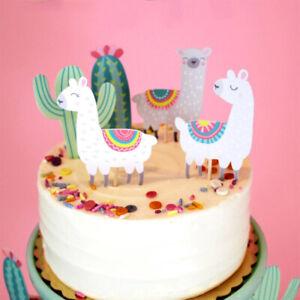 5 Pieces Cake Topper picks Cactus Alpaca LLAMA