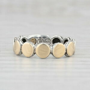 John Hardy Slim Dot Band Ring Sterling Silver 18k Gold Size 7 Stackable