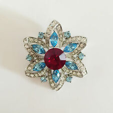 Crystals Brooch Pin Dress Br1067 Gift Christmas New Aqua Blue Daisy Aster Flower