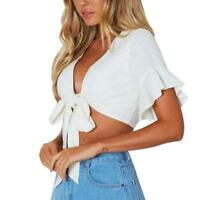 Women Tank Crop Tops Vest Blouse Flare Sleeve T-Shirt