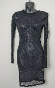 Missguided Black Mesh Cobweb Print Bodycon Dress Size 6 New With Tags