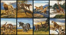 "Fabric African Wild Animals on Cotton Panel 24"" x 44""  BIN"