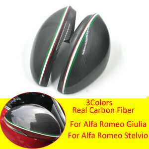 Carbon Fiber Side Rearview Mirror Cover For Alfa Romeo Giulia Stelvio 2017-2020