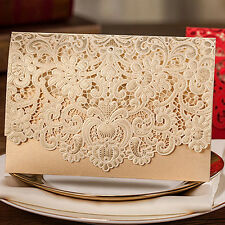 Gold Custom Personalized Printing Wedding Invitation Cards With Envelopes+Seals