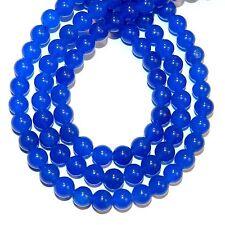 "Blue Malay Jade 8mm Smooth Round Quartz Gemstone Beads 15"" KKK"