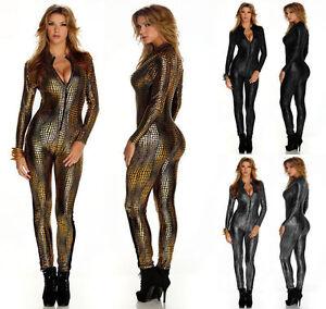 Women Snake Skin Look Catsuit Bodysuit Jumpsuit Clubwear Club Dress S-M L XL