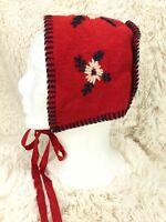 Handmade Bonnet Wool Floral Trim Embroidered Baby/Toddler Girl's Red Vintage
