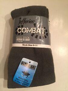 Jefferies Mens Combat Boot Socks Made USA Ultra Dri Warm  2 Pair As 9-11 Green