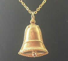Unique Retro Period 14k Solid Flet Bell Locket For Charm or Pendant