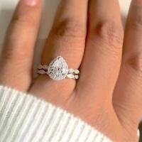 Fashion 925 Silver Pear White Topaz Full Gemstone Princess Wedding Rings !!