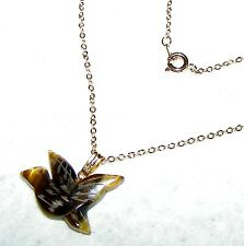 EXQUISITE CARVED TIGER EYE BIRD PENDANT WITH 17-INCH CHAIN