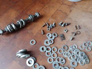 Vintage Schwinn Bicycle Front Axle, Bearings, Screws, Washers, Nuts