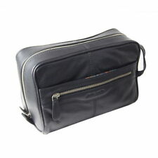Pierre Cardin 100 Leather Travel Washbag Toiletry Bag - Black