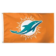 MIAMI DOLPHINS ORANGE BACK GROUND 3'X5' DELUXE FLAG BRAND NEW WINCRAFT