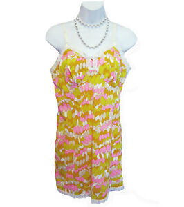 DELECTABLE Maidenform Full Slip PRINT Size 36 Lace Nylon Silky Pink Yellow Retro