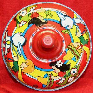 1950s Ohio Art Tin Litho Spinning Top Mexico Southwest Motif Beautiful Condition