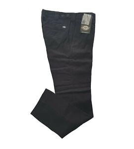 MENS DICKIES SLIM REGULAR SOFT THICK COTTON CHINO SCHOOL WORK PANTS C182 - BLACK