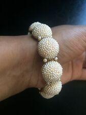 18k on4k YG Cluster Pearl Pave Bracelet Bangle 22k Oscars bridal RedCarpet
