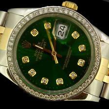 Rolex Men's Datejust Date Oyster Solid Gold Steel Diamond Dial Bezel Watch