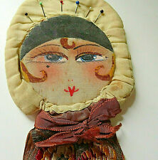 ANTIQUE  FLAPPER GIRL HEAD SEWING WALL HANG PIN CUSHION / NEEDLE CASE