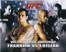UFC 58 MMA Georges St-Pierre GSP Franklin Loiseau autographed signed 8x10 photo