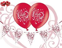 Bundle 40th Ruby Red Anniversary Balloons Pack of 8 Themed + Bunting Banner 12ft