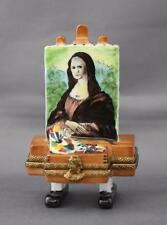 Limoges France Mona Lisa Easel Rochard Trinket Box Hinged Peint Main Paint Tube