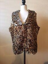 Two Twenty Collection by Blair Faux Fur Brown Tan Leopard Print Vest Size L EUC