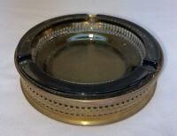 Vtg Marked E L England Round Banister Brass Smokey Glass Insert Ashtray