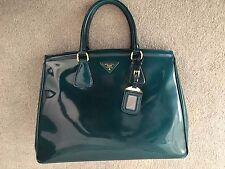 Prada Emerald Green Spazzolato Leather Parabole Tote Bag with Gold Hardware