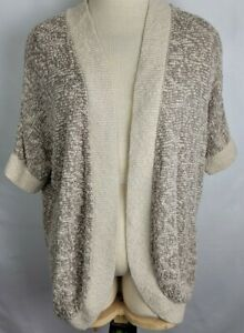 Chicos Womens Size 3 Beige Open Front Stretch Short Sleeves Knit Crop Cardigan