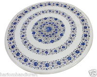 "24"" White Marble Round Coffee Table Top Real Lapis Gem Mosaic Inlaid Decor H2915"
