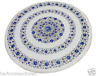"""24"""" White Marble Round Coffee Table Top Real Lapis Gem Mosaic Inlaid Decor H2915"""