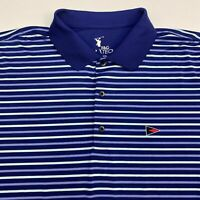 F&G Tech Golf Polo Shirt Men's 2XL XXL Short Sleeve Blue Striped Polyester Blend