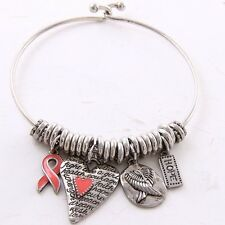 Cancer Awareness Pink Ribbon, Hope, prayer, Wings Silver tone Bangle Bracelet