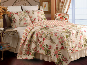 BUTTERFLIES 3pc King Quilt Set Reversible Floral Pink Garden Nature Country